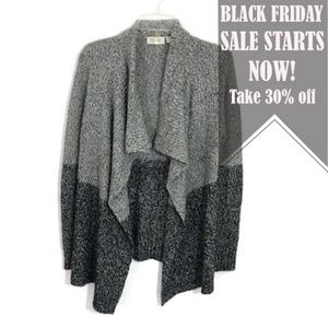 RD style open Color block chunky knit cardigan